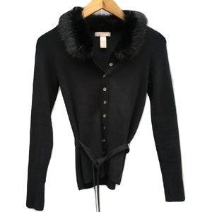 Banana Republic Fur Collar Belted Cardigan Sweater